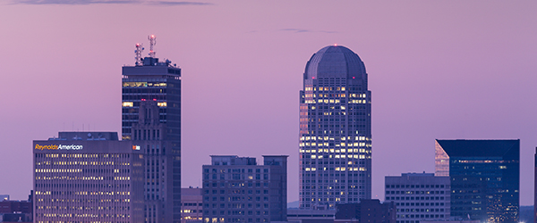 Winston-Salem skyline as dusk.